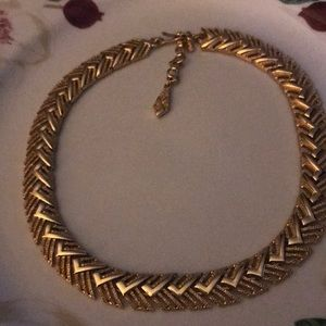 Vintage Monet polished/textured gold plated choker